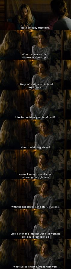 She's so funny in this scene! Is it wrong that he is the most attractive zombie ever? yeah... ok.