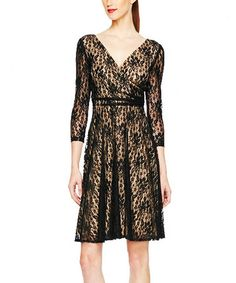 Take a look at this Black Lace Surplice Dress by Maggy London on #zulily today!
