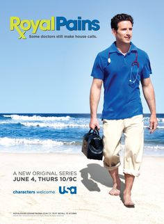 """ROYAL PAINS centers on a young E.R. doctor who, after being wrongly blamed for a patient's death, moves to the Hamptons and becomes the reluctant """"doctor for hire"""" to the rich and famous. When the attractive administrator of the local hospital asks him to treat the town's less fortunate, he finds himself walking the line between doing well for himself and doing good for others."""