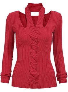 Red Halter Long Sleeve Knit Sweater 16.67