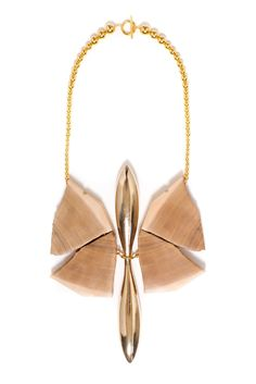 Indentations - Edgar Mosa - Papillio Machaon Necklace, 2013 Wood, Gold Plated Iron & Brass