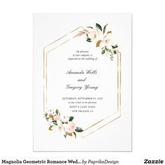 Shop Magnolia Geometric Romance Wedding Invitation created by PaprikaDesign. Personalize it with photos & text or purchase as is! Simple Wedding Invitations, Wedding Invitation Wording, Floral Invitation, Invite, Wedding Stationery, Text Layout, Geometric Wedding, Marriage Life, Watercolor Wedding Invitations