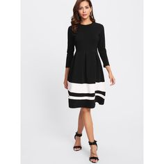 Contrast Striped Hem Dress (€20) ❤ liked on Polyvore featuring dresses