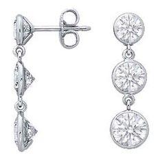 Three Stone Graduated Drop Round Diamond Bezel-Set Dangle Earrings
