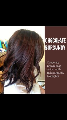 fall hair Hair burgundy brunettes highlights Ideas for 2019 Chocolate Cherry Hair Color, Cherry Hair Colors, Chocolate Hair, Cherry Brown Hair, Burgundy Highlights, Brunette Highlights, Brunette Hair, Curly Highlights, Mahogany Highlights