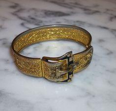 Antique Art Deco 1920s Gilt Rhodium Filigree Enamel Buckle Bracelet, Signed PSCO #PSCO #HingedBangle