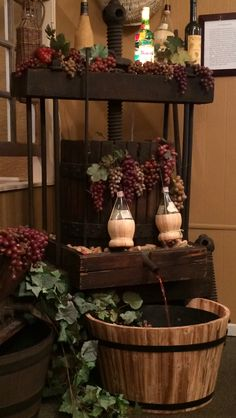 We made this antique wine press into a beautiful fountain in the front entry of a great local Italian restaurant - Baudo's. Wine Press, Front Entry, Water Features, Fountain, Entryway Tables, Restaurant, Patio, Antiques, Crafts