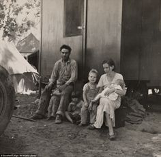 A California fruit 'tramp' was photographed with his family in a migrant camp in Marysville in 1935  Dorothea Lange