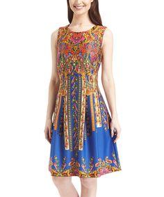 Look what I found on #zulily! Blue Paisley Sleeveless A-Line Dress #zulilyfinds