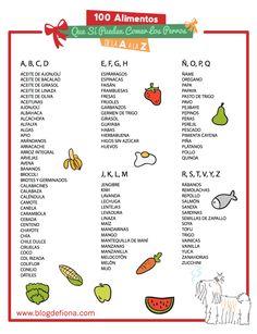 Los 100 alimentos que pueden comer los perros