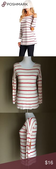 """Vanilla Bay red & crime striped top For sale is a gorgeous top made by Vanilla Bay.  Red stripes on a creme background.  Lightweight and made of 96% rayon 4% flax.  Measures 16"""" armpit to armpit and 25.5"""" length.  Shoulders/arms of shirt meet lower than normal (not sure what this style is called?).  Only worn once so in perfect condition.  Open to offers.  Thanks so much for looking! vanilla bay Tops"""
