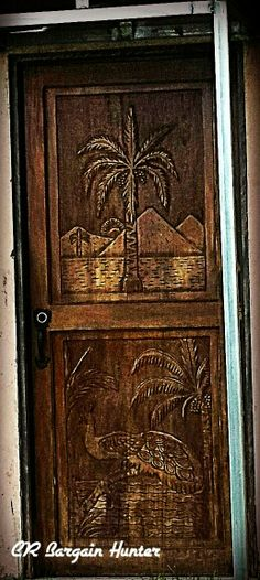 Palm tree and peacock Decor, Palm Trees, Wooden Doors, Woodworking, Home Decor, Wooden