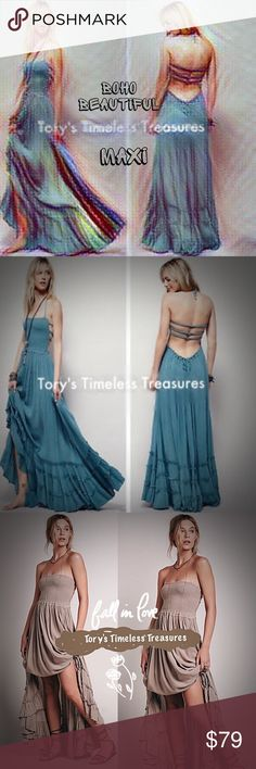 🆕  Summer Boho Lace Long Maxi Backless Sundress 🆕 Summer Boho Lace Long Dress Beach Backless Sundress/Teal/HalterTop Tie/Long/Quality fabrication/Cotton Blend/Goes on over head/U adjust how low U tie halter neckline! This dress is a lot of material! Not C-thur/& other colors,shown for style/dress can be worn strapless, tuck in halter neck ties/Straps across back insures dress stays in place! The dress I'm selling is the TEAL BLUE/OSFM, However best fit Small to Medium(4-8)/?'s pls ask B4 U…