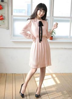 2011 Solid Color Pink Long Sleeve Dresses  Item Code:#CH1338+Pink  US$12.65