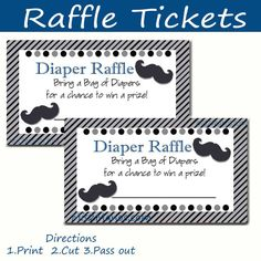 Mustache Baby Shower Diaper Raffle Tickets by M2MPartyDesigns