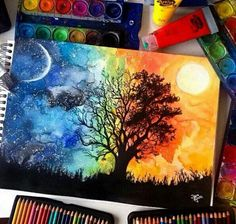 Tree watercolor night and day