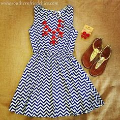 Chevron print dress with Red bubble necklace! Love it! So cute!