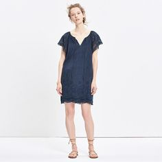 """A throw-it-on-and-go dress in rich eyelet lace. Made of a special cotton-silk blend, this one can totally handle that day-to-night thing. <ul><li>Nonwaisted.</li><li>Falls 35"""" from highest point of bodice.</li><li>Cotton/silk.</li><li>Machine wash.</li><li>Import.</li></ul>"""