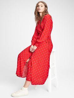 Gap Wrap-Front Maxi Dress Next Fashion, Holiday Fashion, Holiday Style, Gap Women, House Dress, Red Dots, Petite Size, Nice Dresses, Wrap Dress