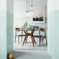 Dining room with half painted walls: pale mint green and white