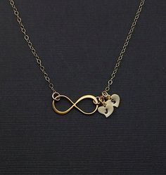 Personalized Necklace Infinity Necklace Gold by MenuetDesigns