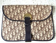 CHRISTIAN DIOR Vintage 70s Monogram Brown Clutch