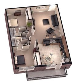 Floor plan 3D 2 bedroom