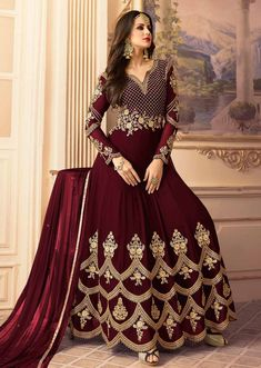 Buy Hypnotic Maroon Colored Designer Partywear Embroidered Georgette Anarkali Suit for womens online India, Best Prices, Reviews - Peachmode Indian Anarkali Dresses, Silk Anarkali Suits, Designer Anarkali Dresses, Anarkali Gown, Indian Fashion Dresses, Indian Gowns, Abaya Fashion, Indian Outfits, Black Anarkali
