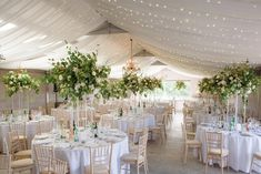 Marquee wedding decor inspiration with fairy lights