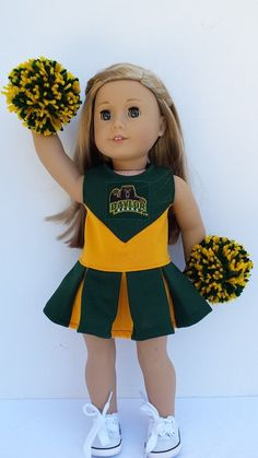 American Girl outfit - Baylor University Cheerleader uniform and pom poms