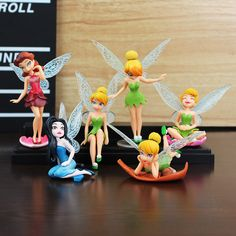 6Pcs/Set Anime Tinkerbell Fairy Figure Toy Tinker Bell PVC Action Figures Dolls Wedding Decoration 5~10cm Great Gift