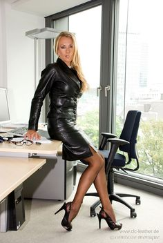 Black Leather Skirt Suit Sheer Black Pantyhose and Black Stiletto high Heels Comtesse-Monique