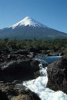 Osorno Volcano and Petrohue Falls, Lake District, Chile.