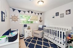Traditional Kids Bedroom with Thespottedbarn Bunting Banner Nautical Nursery Decor Navy Blue, Carpet, High ceiling