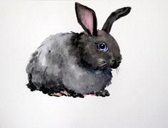 Bunny original watercolor painting nursery art by OriginalArtOnly, $24.00