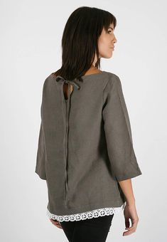 Linen blouse for women with lace, flaxen top with sleeves, comfortable linen cloth, oversize linen tunic, Washed linen loose top Linen Tunic, Linen Blouse, Blouse Dress, Linen Fabric, Linen Cloth, Loose Tops, Natural Linen, White Lace, Blouses For Women