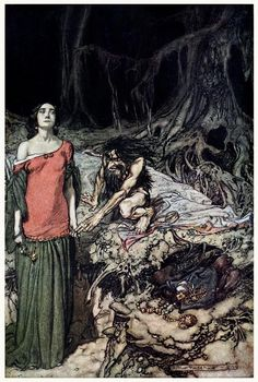 The wooing of Grimhilde, the mother of Hagen. Arthur Rackham, from Siegfried & the Twilight of the Gods, by Richard Wagner, London, 1911.