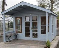 idea from Crane Sheds. Like this overhang for additional storage, but in the rear of the shed (out of sight)shed idea from Crane Sheds. Like this overhang for additional storage, but in the rear of the shed (out of sight) Backyard Office, Backyard Sheds, Garden Office, Garden Sheds, Backyard Landscaping, Studio Shed, Garden Studio, Summer House Garden, Home And Garden