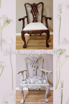 DIY Painted Upcycled Chippendale Arm Chairs. How I achieved this look guide. Also check out matching buffet and dining table. Diy Furniture Tutorials, Furniture Projects, Diy Projects, Paint Upholstery, Chair Upholstery, Painted Wood Chairs, Painted Furniture, Chill Room, Ball Chair