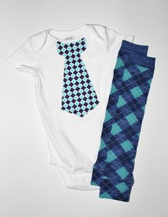 Baby Boy Tie Bodysuit with Matching Leg Warmers Blue Argyle Long or Short Sleeve