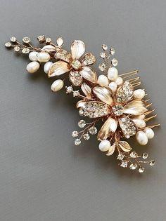 Etsy Rose Gold Floral Comb, Wedding Flower Comb, Rhinestone Bridal Headpiece, Floral Bridal Pearl Comb, W - ShopStyle Bride Bridal Comb, Bridal Headpieces, Pearl Bridal, Bridal Hair, Bridal Accessories, Bridal Jewelry, Rose Gold Hair, Crystal Rhinestone, Wedding Hair