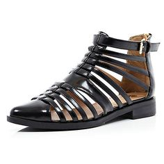 Black patent closed toe gladiator sandals - sandals - shoes / boots - women