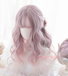 Lolita Pastel Pink Purple Gradient Curly Cosplay Wigs from Tony Moly Store Lolita Pastellrosa Lila G Curly Hair Styles, Curly Hair With Bangs, Short Curly Hair, Hairstyles With Bangs, Ethnic Hairstyles, Teen Hairstyles, Everyday Hairstyles, Pretty Hairstyles, Kawaii Wigs