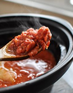 This recipe for Slow Cooker Tomato Sauce is a delicious way to enjoy fresh, in-season tomatoes. Plus, you can freeze it to use later on. #CrockPot #SlowCooker #Recipe #Sauce