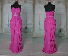 hot pink prom dress  modest prom dress chiffon prom by fitdesign, $127.00