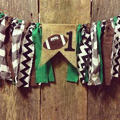 Burlap and Fabric Banner; highchair; first birthday; football by RockyTopCharm on Etsy