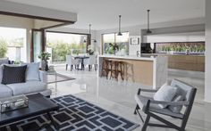 Best Open Kitchen Living And Dining Concepts Perfect For Modern And Traditional Interior Styles Open Plan Kitchen Living Room, Kitchen Dining Living, Open Plan Living, Home Decor Kitchen, Dining Room, Kitchen Chairs, Room Kitchen, Kitchen Ideas, Interior Design Gallery