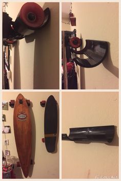 So this Pin I tried today. It's is the Skateboard/longboard hanging rack. We used a 3inch  wide by 3ft long black PVC pipe and we had triple the amount of pipe needed length wise. As you can see it turned out great and here is the link to the directions…
