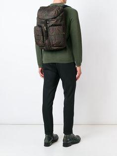 herringbone print backpack