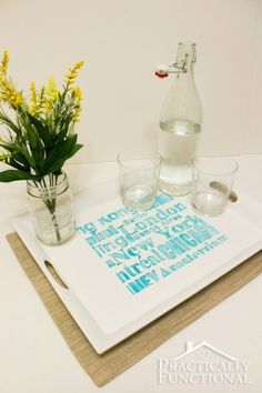 DIY Stenciled Subway Art Tray | Practically Functional